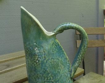 textured blue small pitcher - hand built - ceramic