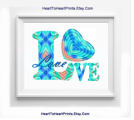 Wall Art Love Heart : Love wall art teal turquoise heart aqua by