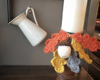 Oak leaves and Acorns crocheted Swag set of two, autumn/fall/harvest/thanksgiving decor,handmade
