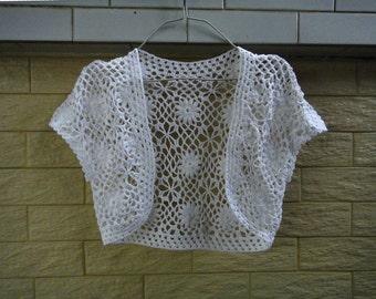 White Wedding Crochet Bridal Bolero Jacket