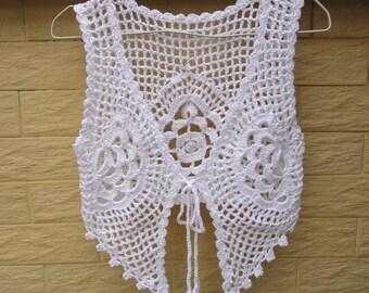 White Crochet Tie Front Crop Top Gypsy Vest