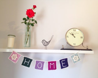 Crocheted 'home' bunting