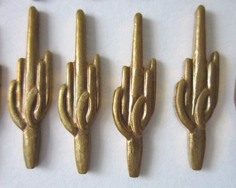 12 Vintage Cactus Brass Stampings, 21mm x 5.5mm
