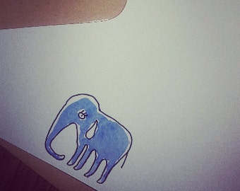 Dejected Elephant card - hand drawn & painted