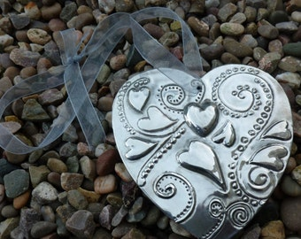Hanging Heart Shape with Embossed Pewter Detail