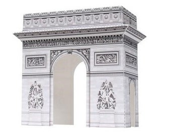 Paper Toy Arc de Triomphe for self-assembly, Printable A4 PDF and JPEG, Instant Download.