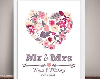 DIN A3 wedding day/anniversary art print, mural ' Mr & Mrs' print, gift wedding