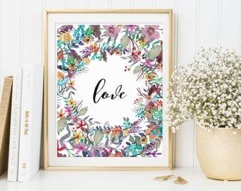 Love Wall Art, Faith Hope Love Wall Art, Love Printable, Love Print, Love Artwork, Flower Wall Art Love, Flower Printable Love, Love Decor