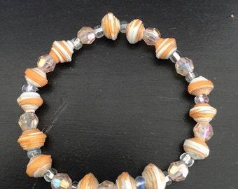Tiger Strip Paper Bead Bracelet