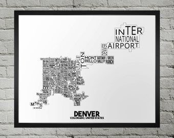 Denver Colorado Neighborhood Typography City Map Print