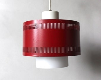 Small slotted Lyfa ceiling hanging lamp metal lamp shade glass red 70