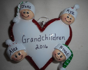 4 family heart ornament// personalized christmas ornament// family of 4 heart ornament// christmas ornament
