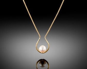 18K Gold Necklace Fresh Water Pearl