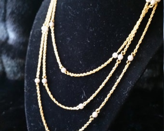 Dainty Gold Tone and Faux Pearl Multi Strand Necklace
