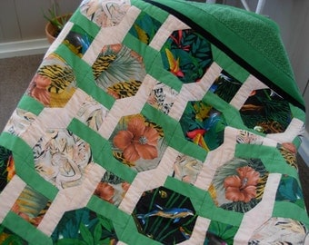 tropical quilt throw greens and floral prints