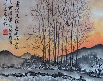 Sunset - Authentic Traditional Chinese Painting (Made to Order)