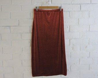 Orange Velvet Mixi Skirt