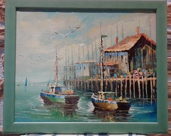 Vintage Boats Seascape Oil Painting Signed with Frame