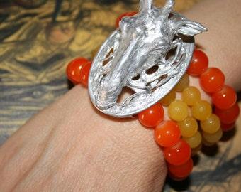 Giraffe bracelet sculpture in aluminium casting, cast