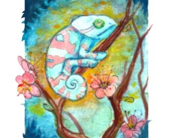 ORIGINAL Chameleon Gouache and Watercolor ACEO Painting