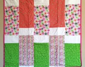 Pink, Lime Green & Orange Quilt w/Pillowcase