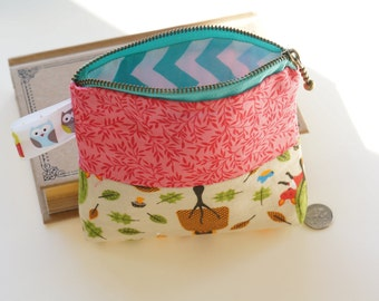 Handmade Multi Purpose Zipper Pouch- Feminine Product Pouch- Privacy Pouch- Tampon Case-Tampon Holder-Owl-fox