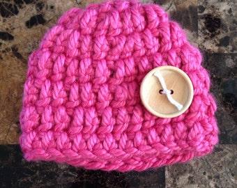 Pink newborn baby hat, newborn hat, baby hat, hat, newborn, baby, crocheted hat, crochet hat, crochet baby hat, crochet, pink