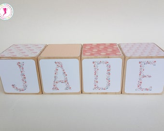 Personalised Name Blocks,  Name Blocks, Wooden Blocks, Personlized Name Blocks, Girl Name Blocks, Floral Blocks