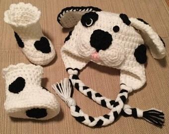 Crochet Dalmatian Hat and Booties, Dalmatian Puppy Hat, Character Hat, Crochet Booties, Halloween Costume, Dalmatian Booties, Photo Prop