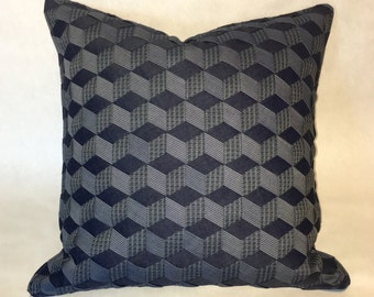 20x20 Throw Pillow Cover - Blue Gray - Hand Woven Fabric