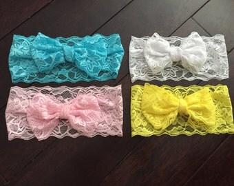 LACE HEADBAND - Pink, White, Yellow, Blue Photo Prop