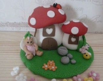 Edible Toadstool house and fairy, Christening, Cake Topper,girl,boy,cake decorations,sugar paste,