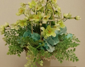 Shabby chic floral arrangement Romantic cottage style floral decor birdcage vintage style turquoise flowers gifts English cottage French