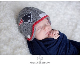 Baby New England Patriots inspired Football Helmet, Hat, Made to Order, Limited Time Only