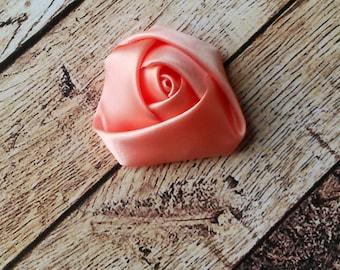 2 - Small 1.5 Inch Peach Satin Rose Flower - Satin Rosette - Rolled Rose Satin Flower