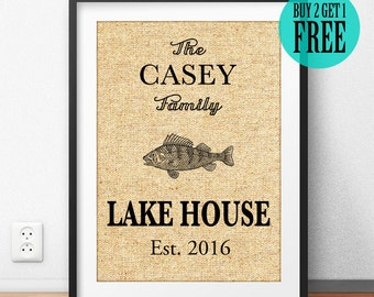 Lake House Decor, Burlap Print, Family Name Sign, Established Date, Home Decor, Rustic Wall Art, Housewarming Gift, Anniversary Gifts, CM52