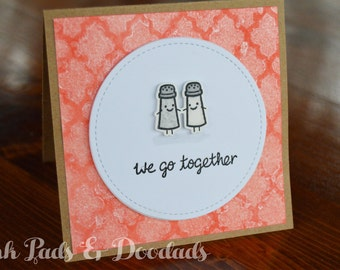 Valentines Card, Cute Salt and Pepper Shakers, Couples, Love Card, Handmade Card, Hand Stamped Card