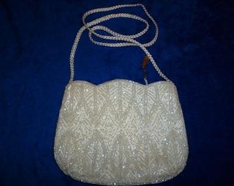 White beaded evening bag