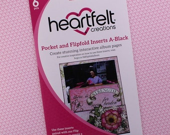 Heartfelt Creations Flip Fold Pockets and Inserts Set A in Black - Black Mini Album Pockets - Black Flip Fold Pockets & Inserts Set A