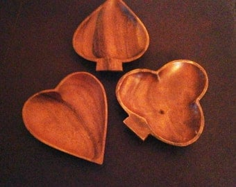 Snack Dishes Wood Bowls Bridge Playing Cards Heart Spade Club
