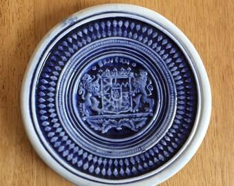 Stoneware Bavarian Wall Plate German Blue Pattern