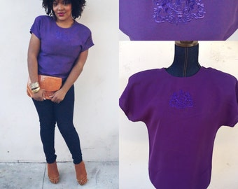 Vintage Short Sleeve Embroidered Blouse-M