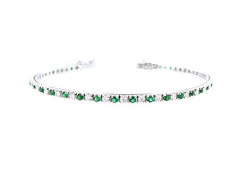 BR-005 Emerald tennis + diamond 18kt gold