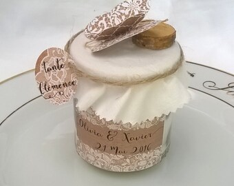 Candle brand place customizable rustic lace, wedding