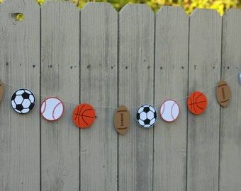 10 ft SPORT BALL GARLAND-Any Size--Any one or two balls garland--Super Bowl--Boys Room Decor