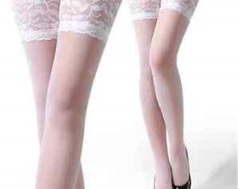 White lace thigh high stockings