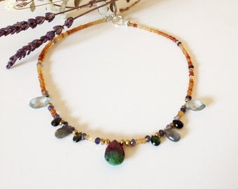 Organic design with semi-precious stones and central Ruby Teardrop necklace