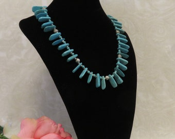 SALE !!! Turquoise Fan Beads w/ Silver Rosebud Beads Between