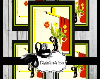 Digital collage/Vase/Cute/Flower/Red/Pretty/Happy/Red/Flowers/Antique/Clip Art/Digital Download/Vintage Art/Inchies/Dominoes/Retro/Collage