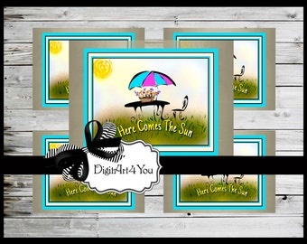 Digital collage/Sun/Sunshine/Happy/Beatles/Here Comes the Sun/Cute/Clip Art/Digital Download/Vintage Art/Supplies/Inchies/Dominoes